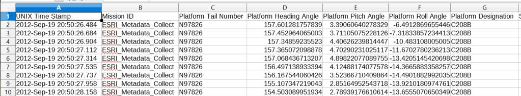 Misb csv partial metadata